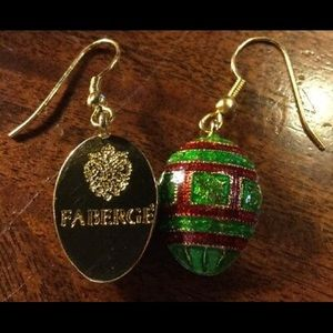 Vintage Faberge earrings New rare fish hooks